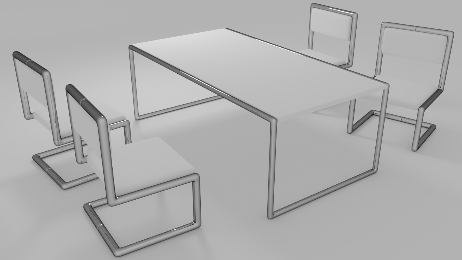 Free 3D Dining Table & Chairs .blend file