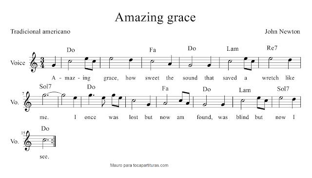 Partitura de Amazing grace (Tradicional americana) de John Newton para voz con acordes de guitarra o teclado