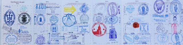 Credencial Camino de Santiago, sellos del Camino