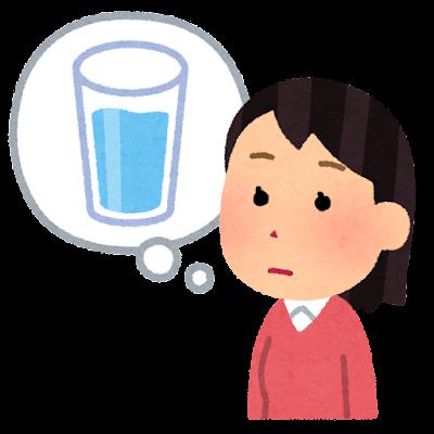 喉が渇いた人のイラスト(女性)