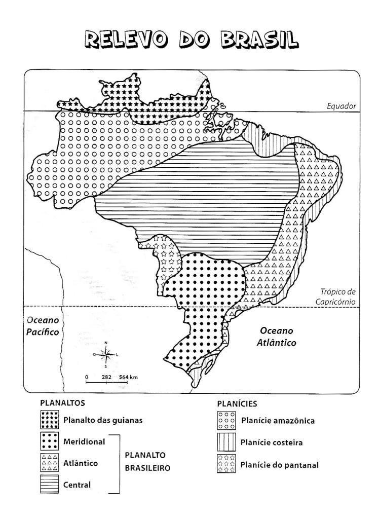 Mapa Do Relevo Do Brasil Para Colorir
