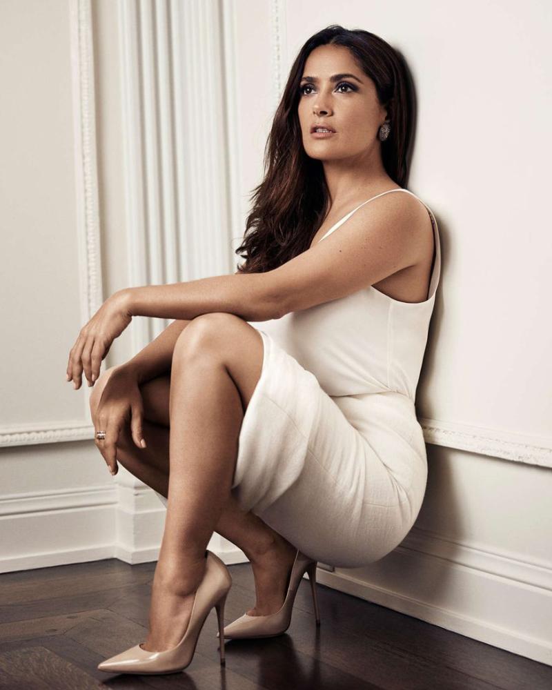 Salma Hayek  perfect body shape women in white dress