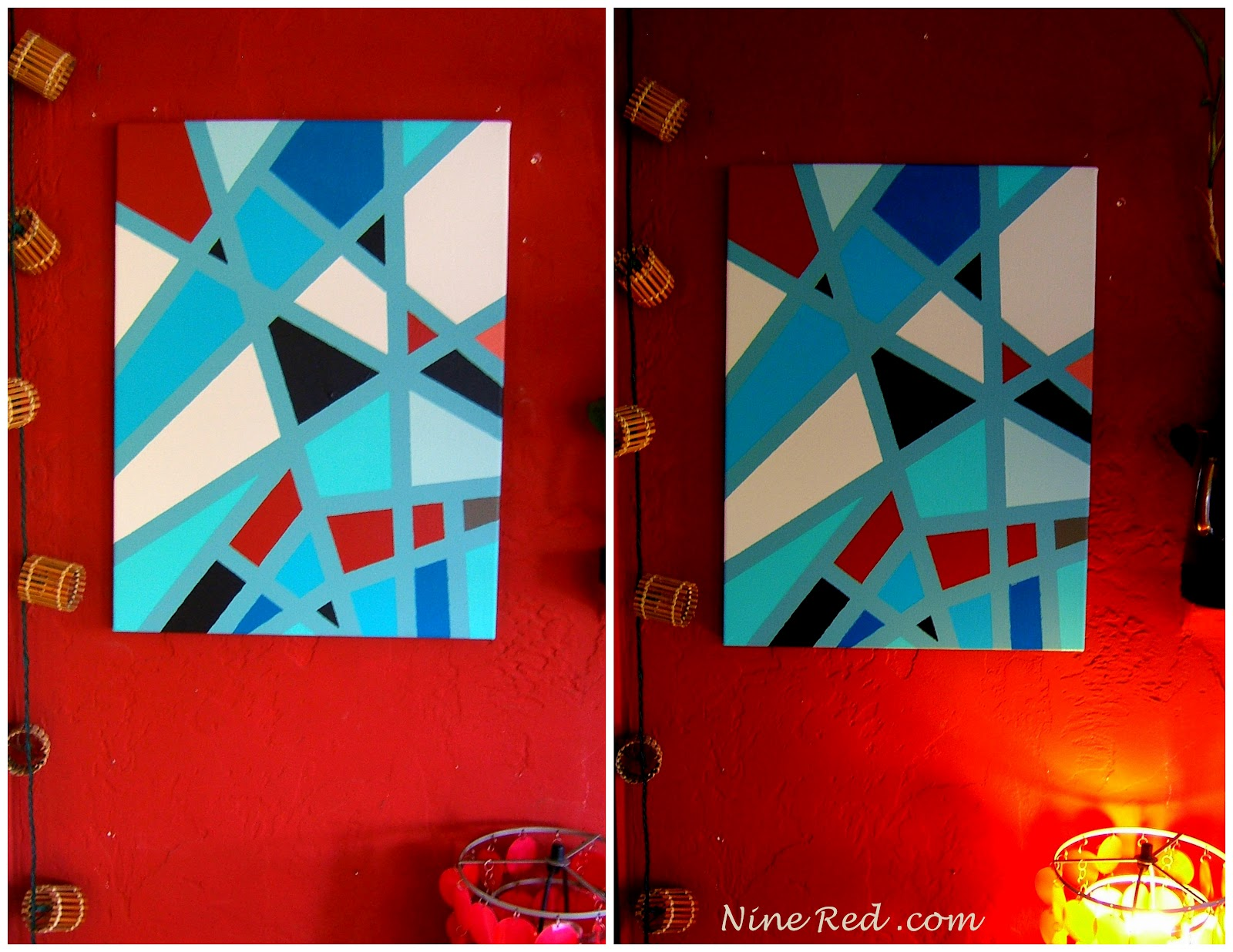 How To Geometric Art : teal and red wall art - www.pureclipart.com