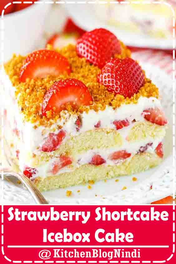 4.9★★★★★ | This Strawberry Shortcake Icebox Cake is an easy dessert that's perfect for summer! Made with fresh strawberries, a berry cream filling and soft ladyfingers, it's light, simple and layered to perfection!  #Strawberry ShortcakeIcebox #Cake