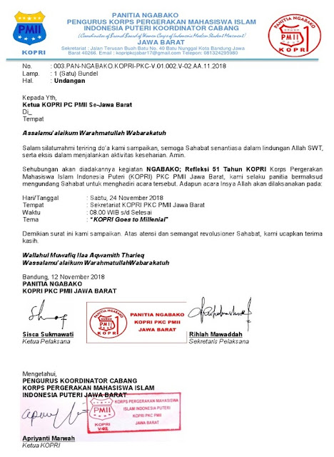 Contoh Surat Undangan Resmi Organisasi Ekstra Kampus