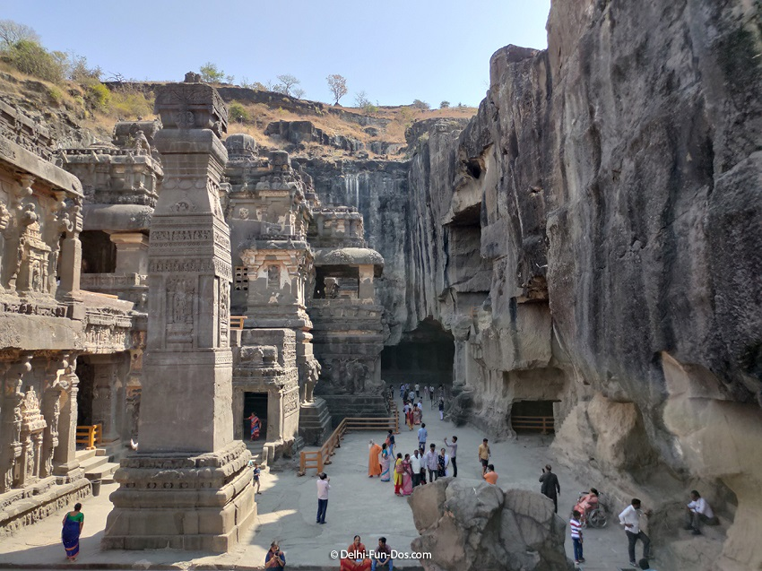 The Kailasha Temple at Ellora Caves stands somewhat at the center as if it is a divider between the Buddhist monasteries to the right and the Jain shrines to the left. Kailasha Temple is of indescribable beauty and every inch evokes awe. By DelhiFunDos doibedouin
