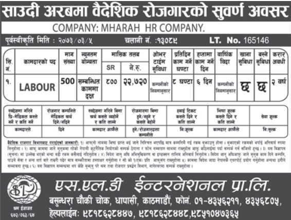 Free Ticket, Free Service Charge, Jobs For Nepali In Saudi Arabia,