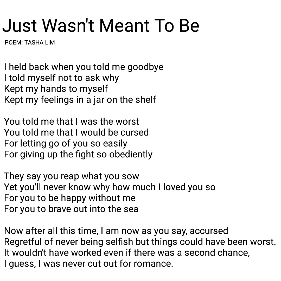 Poem 72 Just Wasnt Meant To Be