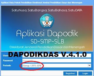 Download Aplikasi Dapodikdas V.4.1.0 Semester 2 Tahun 2015/2016