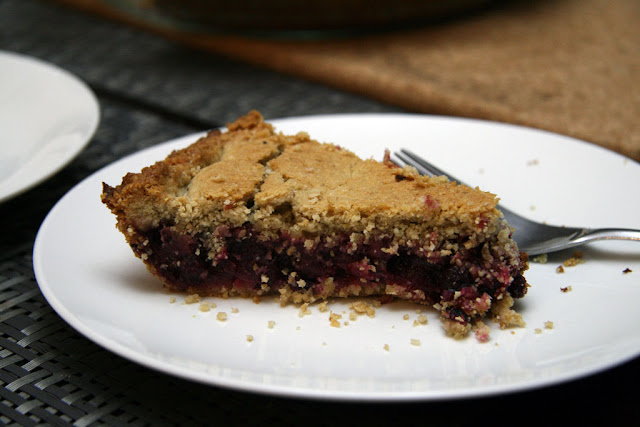 A slice of saskatoon berry pie.