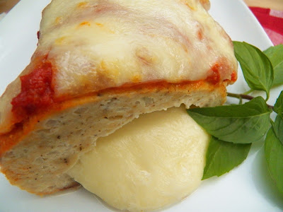 Chicken Parmesan Meatloaf with oozy mozzarella cheese center
