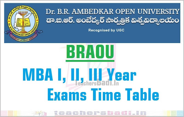BRAOU,MBA I/II/III Years Exams,Time Table