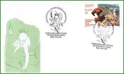 Sobre con matasellos de Valle de Riosa, minero desde la prehistoria, Grucomi, Riosa, 2001