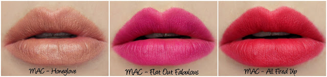 MAC Honeylove, Flat Out Fabulous, All Fired Up Lipstick Swatches & Review
