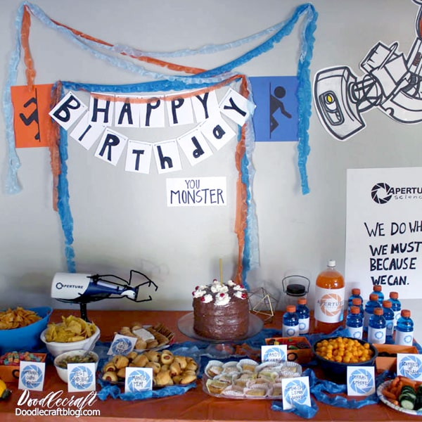 The Cake is a lie! Throw an epic Portal themed video game Birthday Party with these fun DIY's!