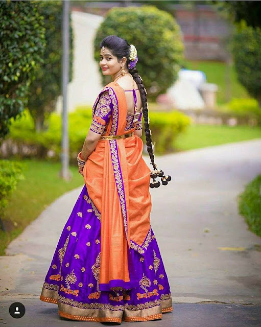 Purple and Peach Half Saree