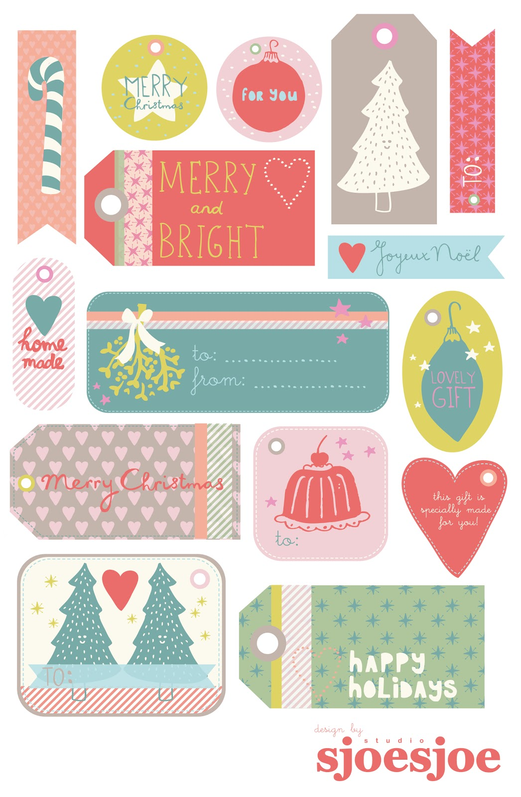 Joëlle Wehkamp FREE printable Christmas gift tags