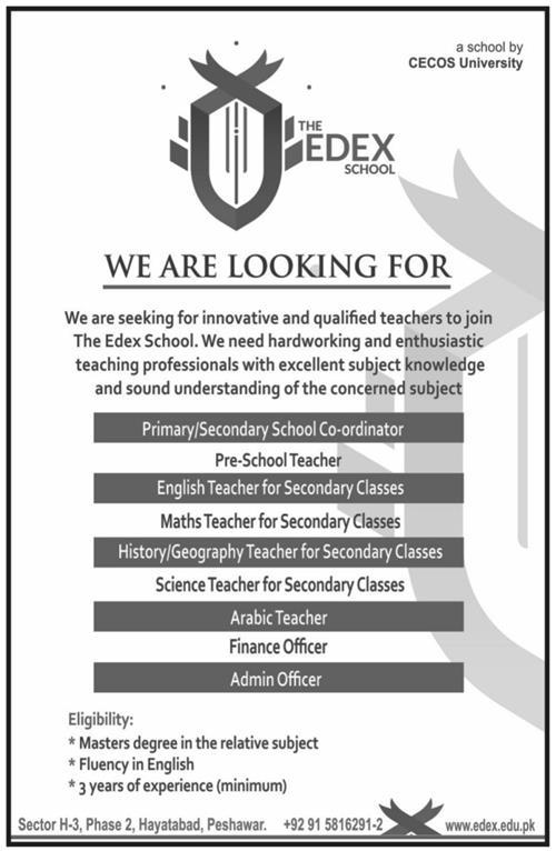 Jobs in The Edex Schools Peshawar