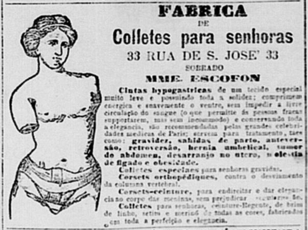 Anúncio de 1897 promovia uma fábrica de coletes para senhoras