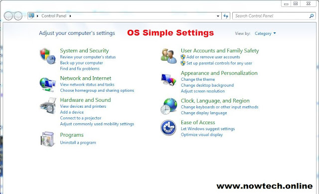 operating system simple settings