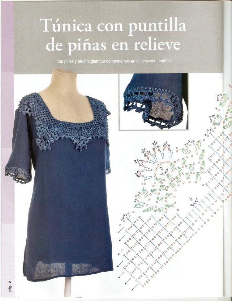 Perfecto Patrón De Crochet Camiseta Ornamento - Manta de Tejer ...