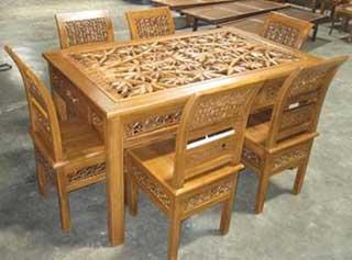 kursi meja makan jati ukir