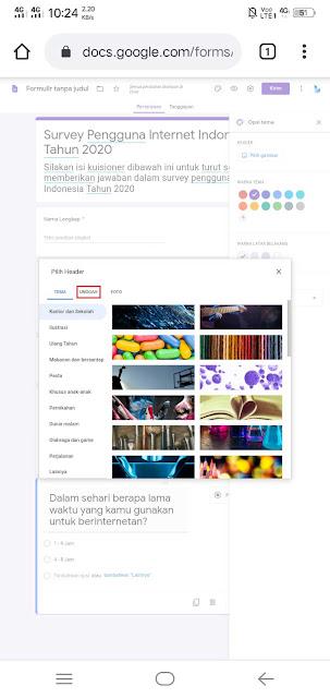 tambahkan foto header google formulir