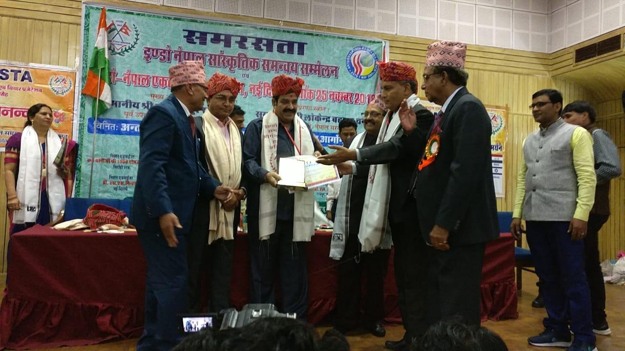 रमणीक प्रभाकर को इन्डो नैपाल एकता अवार्ड 2018 से सम्मानित किया