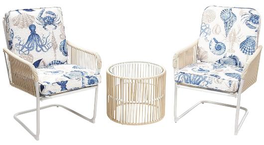 3 Piece Outdoor Conversation Set Coastal Sea Life Seat Cushions
