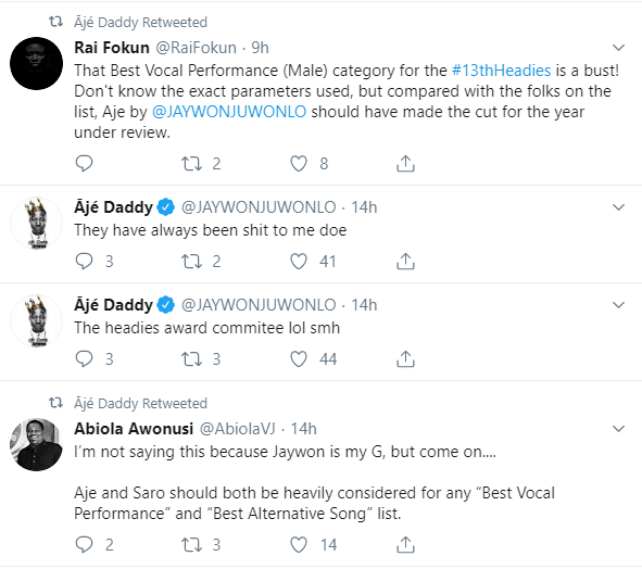 Why I am not happy with the newly released Headies nominee list - Jaywon