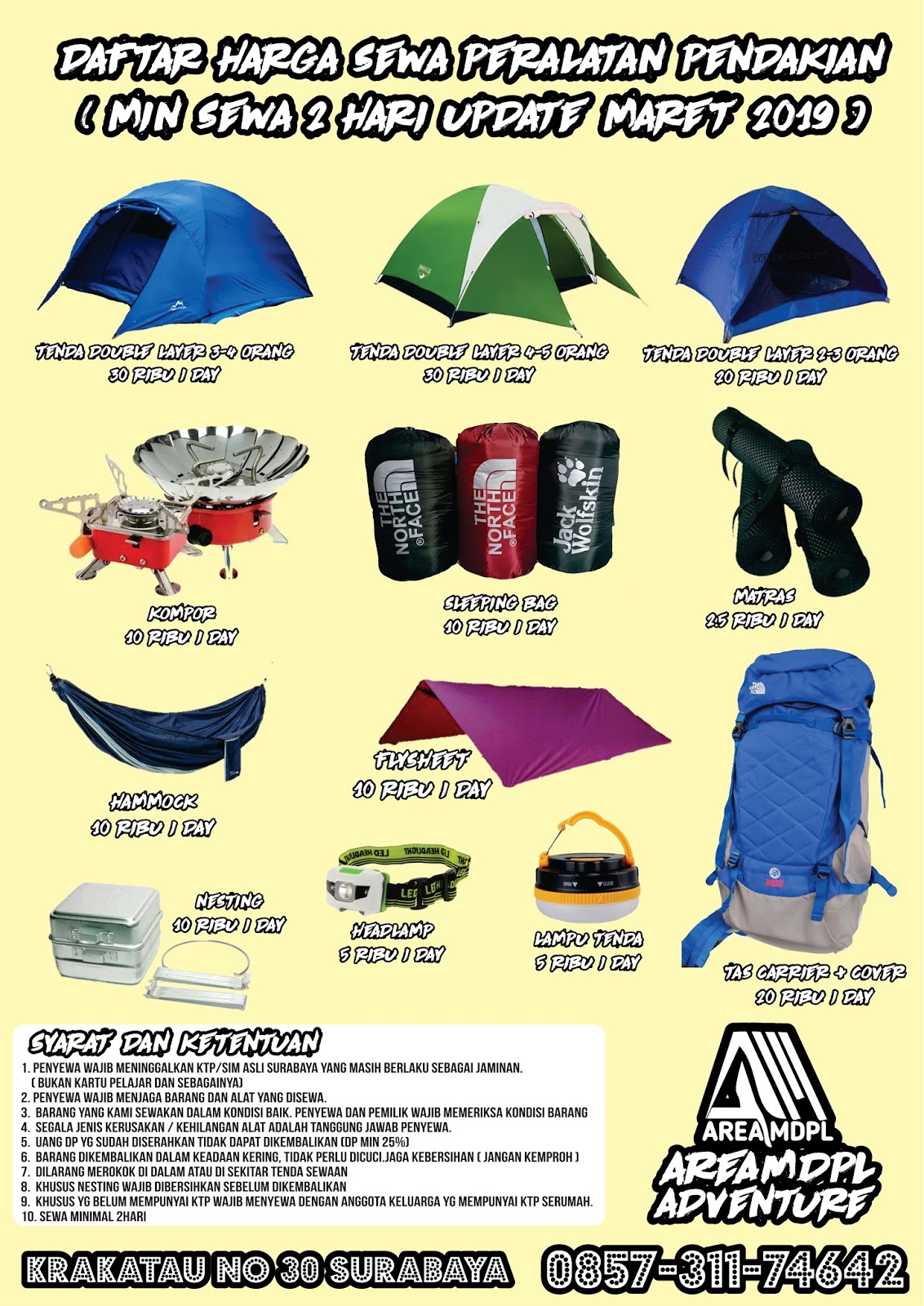 Areamdpl Adventure Store Rental Tenda Alat Camping Surabaya