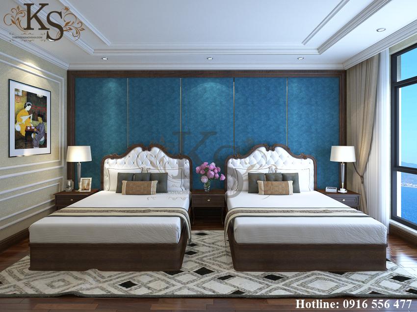 Hình ảnh: Chất liệu gỗ chủ đạo mang tone màu tối tạo nên vẻ đẹp cổ điển cho thiết kế nội thất phòng ngủ khách sạn La MaiSon.