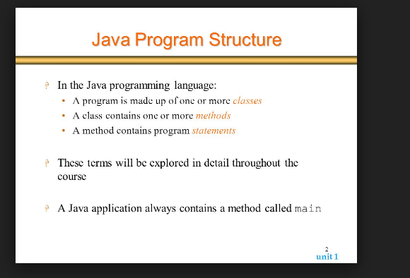 The basic structure of the java program  | TEEZTAREEN COM