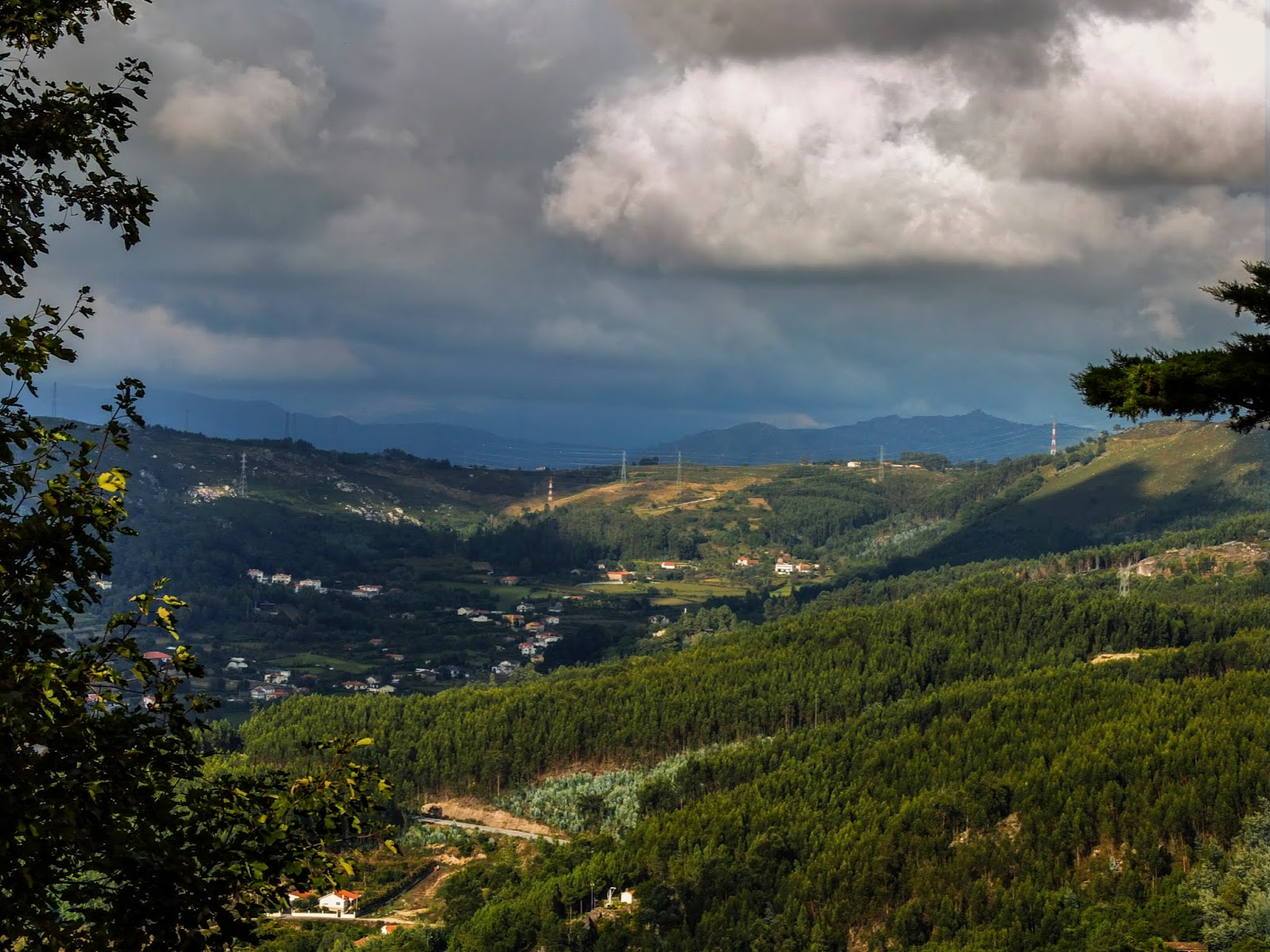 A mountainous landscape of Braga in the north-west of Portugal.