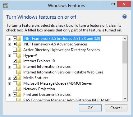 .net framwork successfully installed enabled on windows8