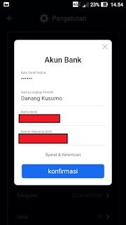 Pengaturan Akun Bank Vtube