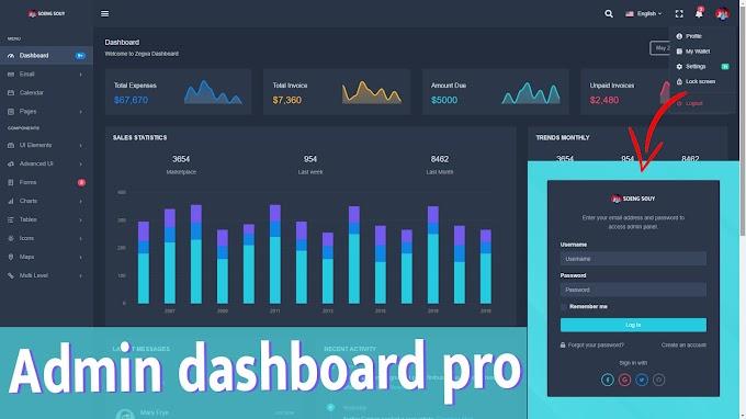 Dashboard Admin HTML CSS JS  Free download | V16