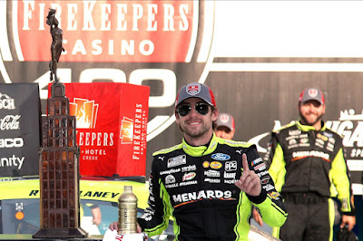 Ford Performance and Roush Yates Engines won their seventh straight NASCAR Cup race at Michigan International Speedway with Team Penske's Ryan Blaney