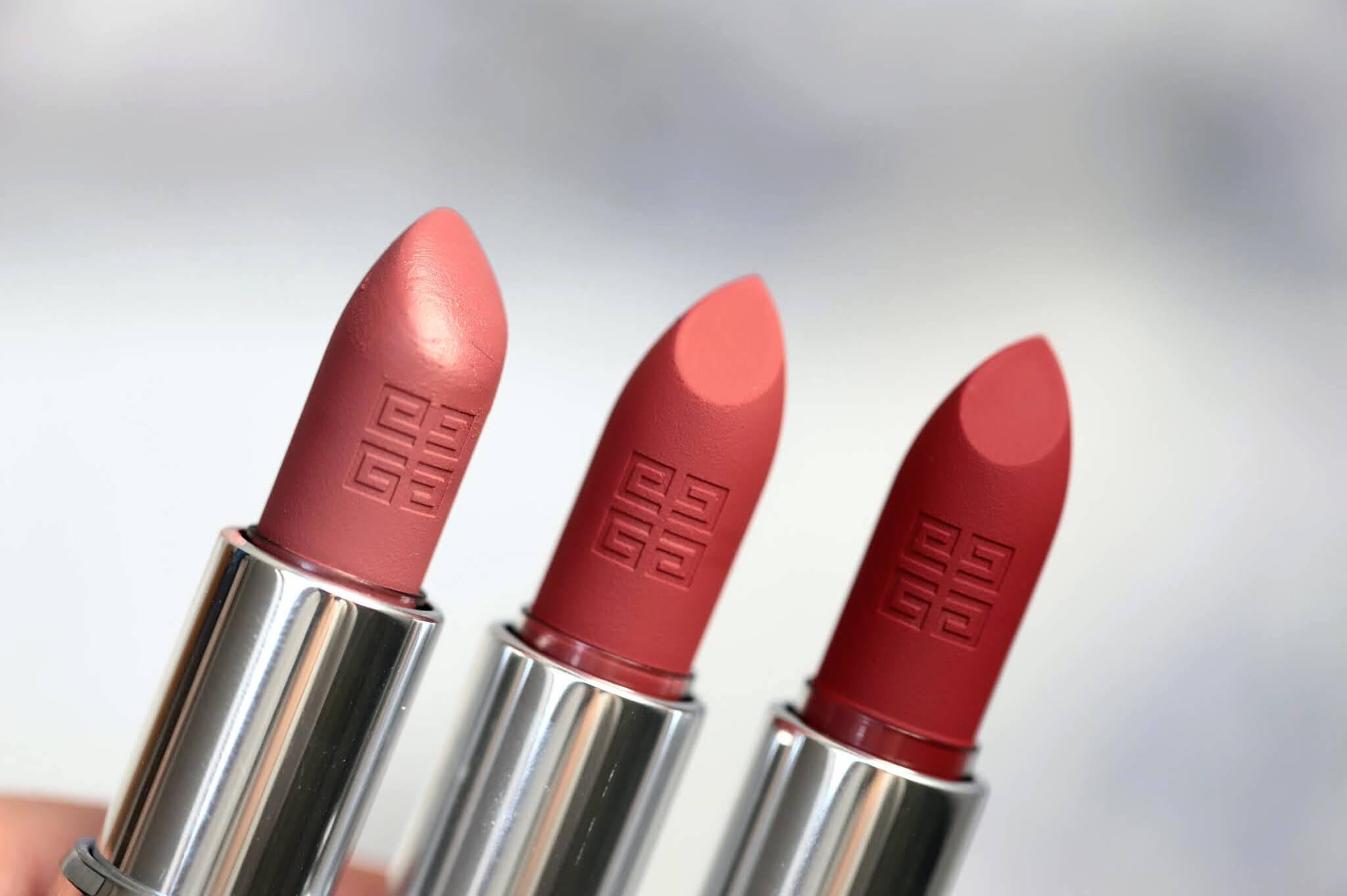 Givenchy Le Rouge Sheer 16 Nude Boisé 27 Rouge Infusé 37 rouge grainé swtach