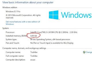 cara mengecek ukuran RAM pada laptop