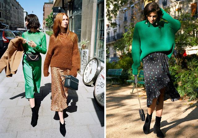 Коричневый и зеленый свитер оверсайз с юбкой с леопардовым и цветочным принтом с воланами
