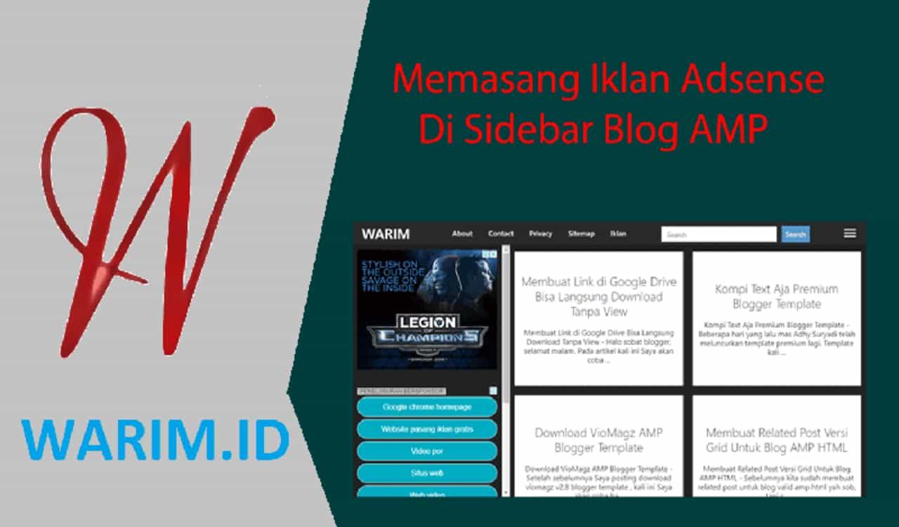 Memasang Iklan Adsense di Sidebar Blog AMP Memasang Iklan Adsense di Sidebar Blog AMP