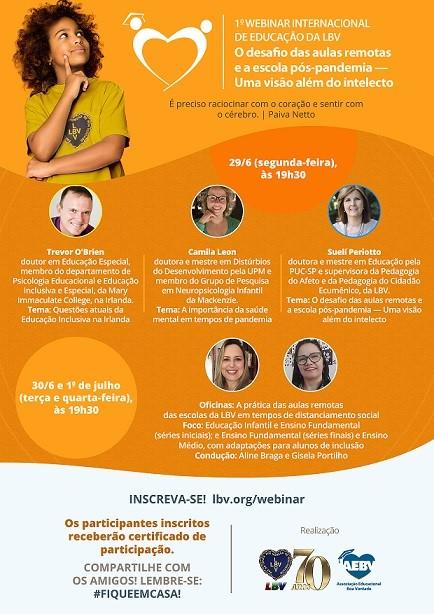 22º Congresso Internacional de Educação da LBV discutirá os desafios da educação pós - pandemia