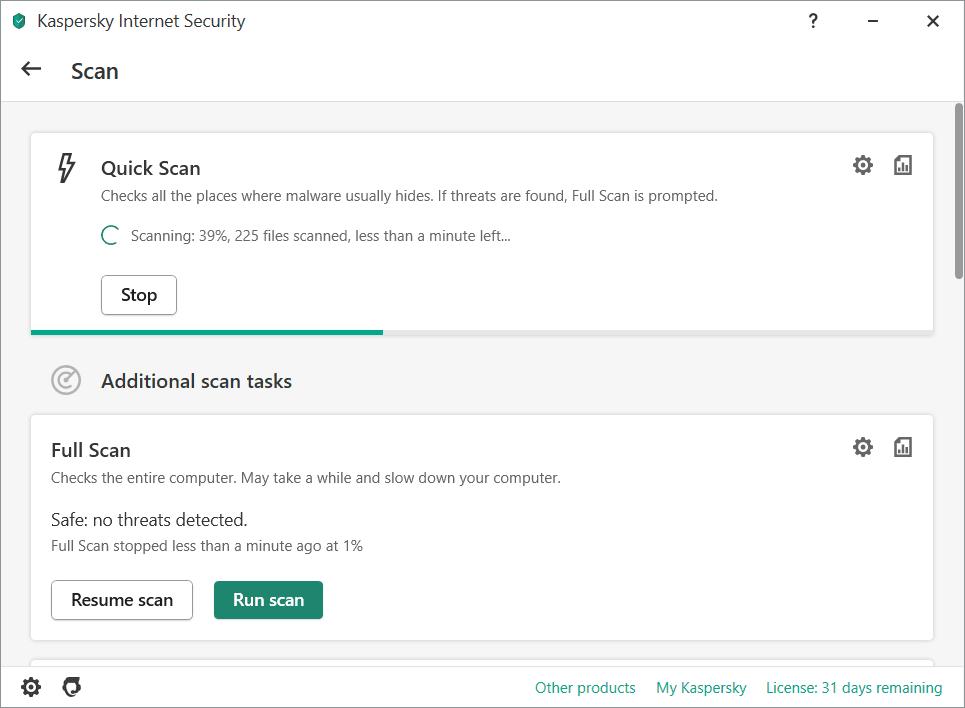 Kaspersky Internet Security Quick Scan Screenshot