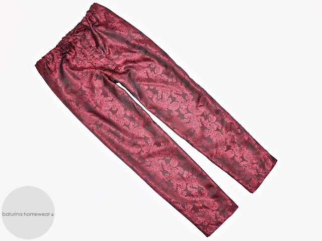 Mens burgundy paisley silk pants pajamas bottoms lounge trousers long ankle length maroon wine red