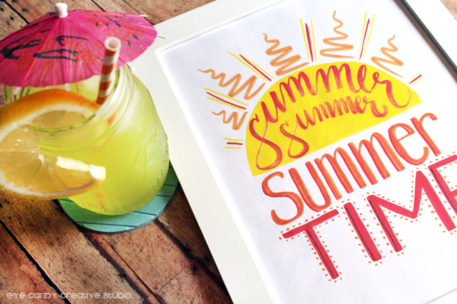 summer time, summer drink, marker drawing, hand lettering, brush markers