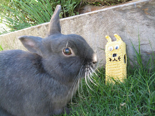 A black rabbit called 'Smokey' is looking at a yellow 'rabbit' phone cover which is leaning against the garden bed sleeper.  The phone cover is oblong with stick on 'googly' eyes, a camera lens for a nose and a mouth and whiskers embroidered in black thread. The ears are short and rectangular.