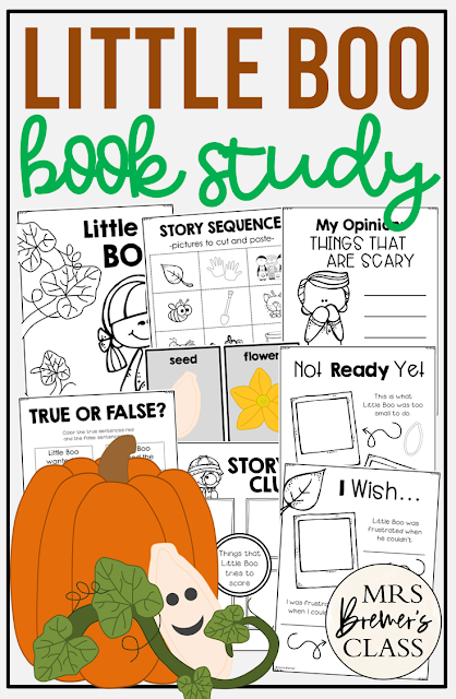 Little Boo book study activities unit with Common Core literacy companion activities for Halloween & Fall in Kindergarten & First Grade