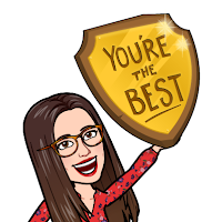 "Miss Lawrence's Bitmoji cartoon avatar, a woman in big glasses with long brown hair and a red dress, holds up a trophy engraved with the words ""you're the best"""