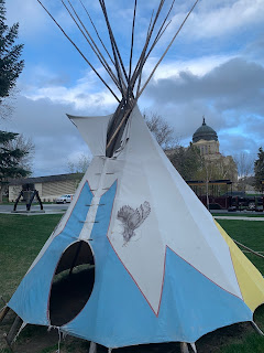 Tipi on Front Lawn at MHS